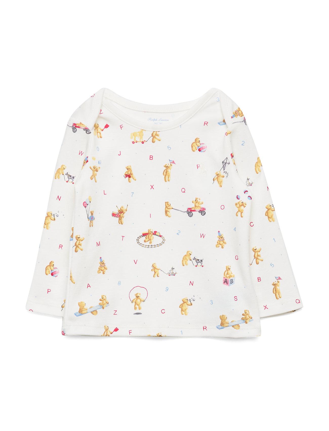 Ralph Lauren Baby Bear-Print Cotton Top - WHITE