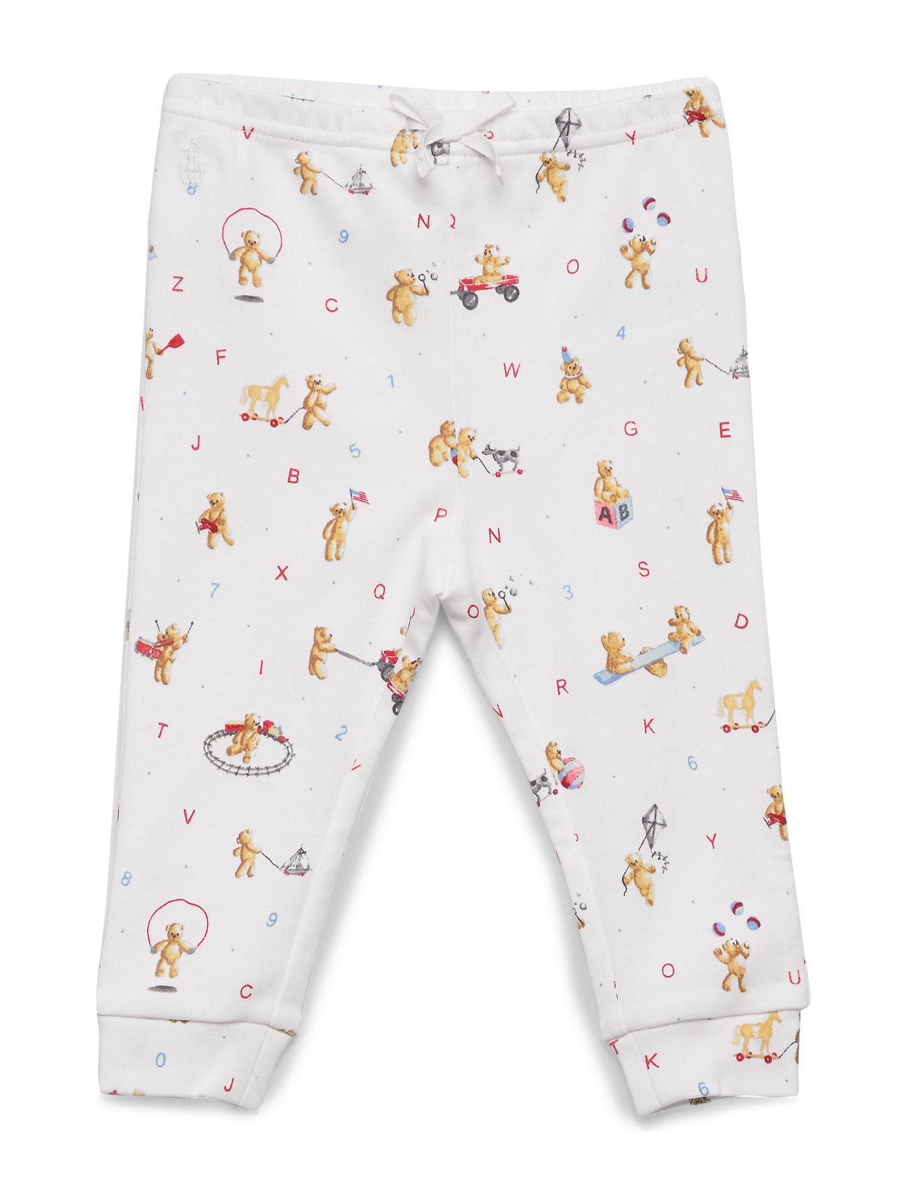 Ralph Lauren Baby Bear-Print Cotton Pull-On Pant - WHITE
