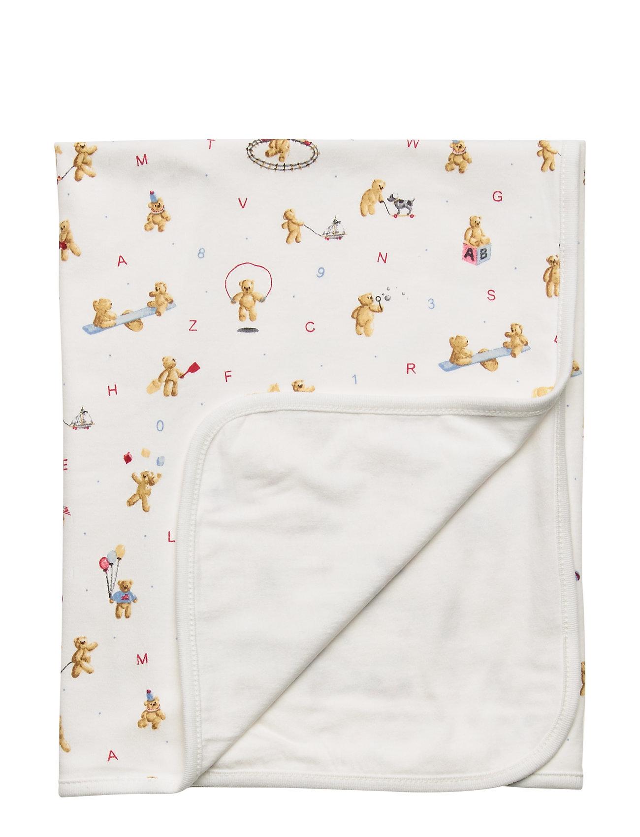 Ralph Lauren Baby Alphabet Bear Cotton Blanket - WHITE