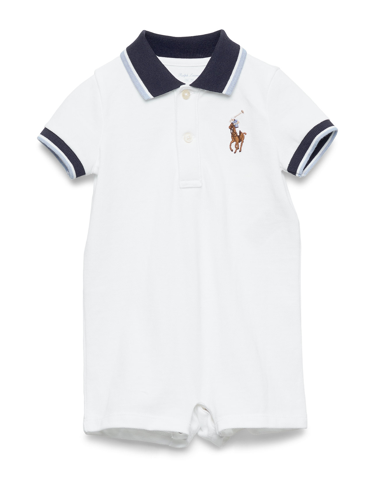 Ralph Lauren Baby Cotton Mesh Polo Shortall - WHITE