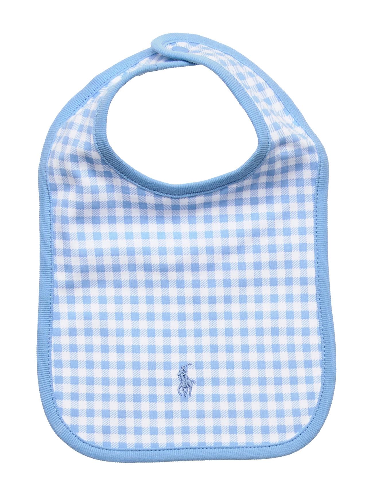 Ralph Lauren Baby Gingham Cotton Interlock Bib - CHATHAM BLUE