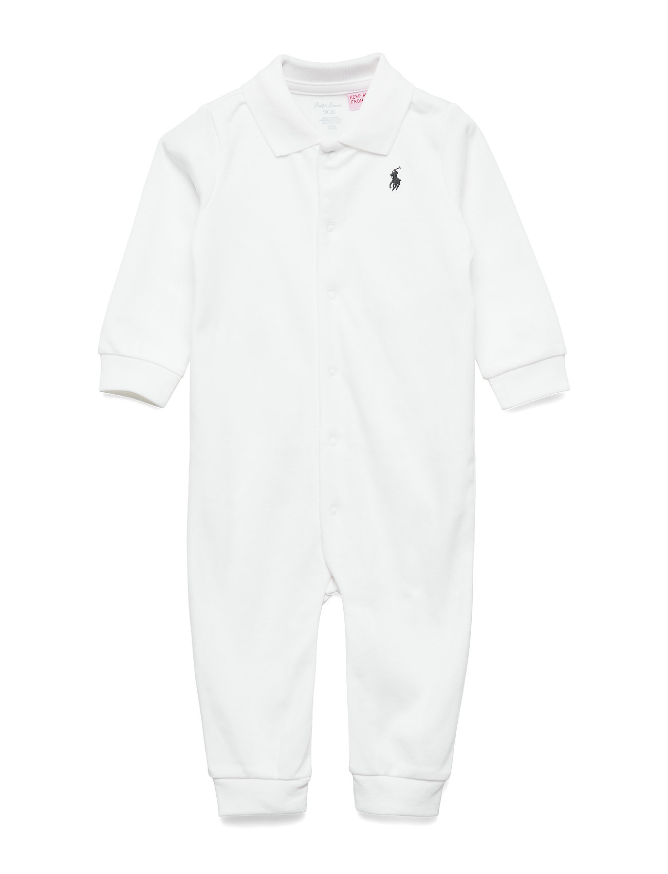 Ralph Lauren Baby Cotton Polo Coverall - WHITE
