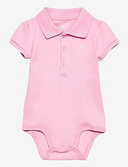 Ralph Lauren Baby - INTERLOCK-POLO BDYSUIT-OP-BDY - short-sleeved - carmel pink/white - 0