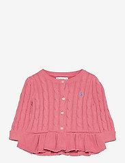 Cable Cotton Peplum Cardigan - DESERT ROSE