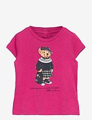Ralph Lauren Baby - Backpack Bear Cotton Tee - kortærmede - college pink - 0