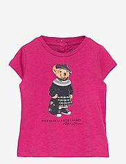 Ralph Lauren Baby - Backpack Bear Cotton Tee - short-sleeved - college pink - 0