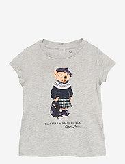 Ralph Lauren Baby - Backpack Bear Cotton Tee - short-sleeved - heather grey - 0