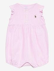 Ralph Lauren Baby - YD OXFORD MESH-KNIT BUBBLE-OP-SHA - short-sleeved - carmel pink/white - 0