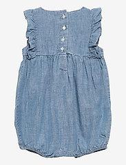 Ralph Lauren Baby - Chambray Cotton Bubble Shortall - kortærmede - indigo - 1