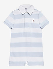 Ralph Lauren Baby - Striped Cotton Rugby Shortall - kortærmede - beryl blue multi - 0