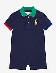 Ralph Lauren Baby - Big Pony Cotton Mesh Polo Shortall - short-sleeved - newport navy - 0