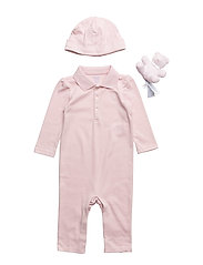 Polo Coverall, Hat & Bear Set - HINT OF PINK