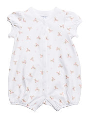 Polo Bear Cotton Romper - WHITE/PINK/MULTI