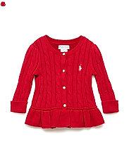 Cable Cotton Peplum Cardigan - PARK AVENUE RED