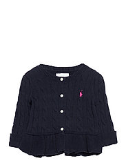 Cotton Peplum Cardigan - RL NAVY