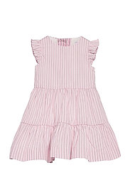 CORDED YD STRIPE-TIERED DRESS-DR-WV - PINK WHITE