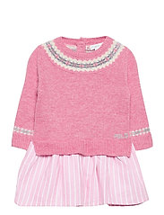 WOOL-FAIRISLE DRS-DR-SWT - PREPPY PINK HEATH