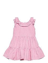 Tiered Seersucker Dress & Bloomer - PINK/WHITE