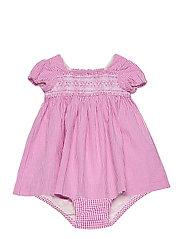 Gingham Cotton Seersucker Dress - PINK/WHITE