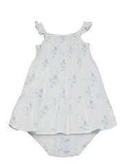 Smocked Dress & Bloomer - BLUE-WHITE