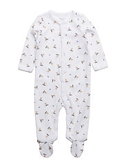 Polo Bear Cotton Coverall - WHITE/BLUE MULTI