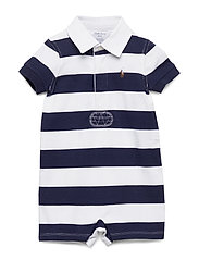 Striped Cotton Rugby Shortall - FRENCH NAVY MULTI