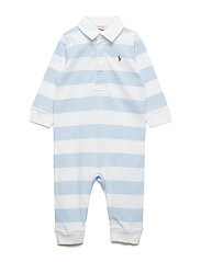 Striped Cotton Rugby Coverall - BERYL BLUE/WHITE