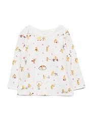 Bear-Print Cotton Top - WHITE