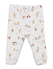 Bear-Print Cotton Pull-On Pant - WHITE