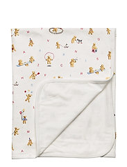Alphabet Bear Cotton Blanket - WHITE