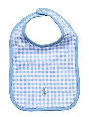 Gingham Cotton Interlock Bib - CHATHAM BLUE
