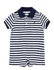 Soft Cotton Polo Shortall - BERYL BLUE MULTI