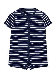 Striped Cotton Jersey Shortall - FRENCH NAVY MULTI