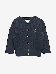 Cable-Knit Cotton Cardigan - cardigans - hunter navy