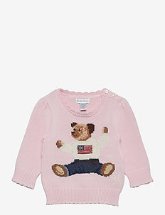 Polo Bear Cotton Sweater - knitwear - french pink