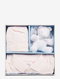 Polo Coverall, Hat & Bear Set - DELICATE PINK