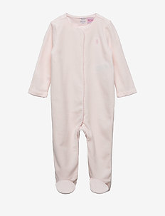 Velour Footed Coverall - długi rękaw - delicate pink