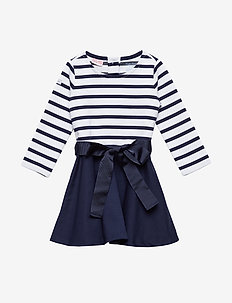 Fit-and-Flare Dress - FRENCH NAVY/WHITE
