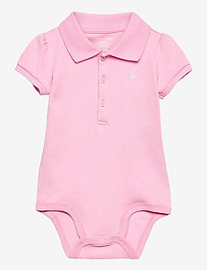INTERLOCK-POLO BDYSUIT-OP-BDY - short-sleeved - carmel pink/white