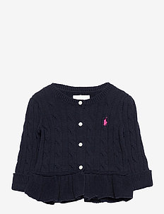 Cotton Peplum Cardigan - gilets - rl navy
