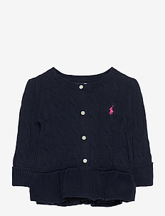 Cotton Peplum Cardigan - gebreide vesten - rl navy w  powder