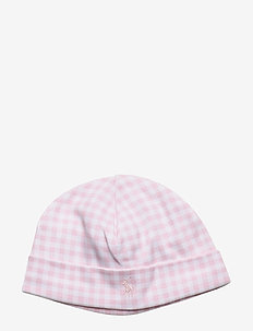 Gingham Cotton Interlock Hat - hatter - delicate pink mul