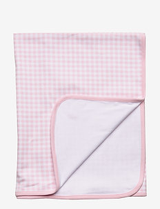 Gingham Interlock Blanket - blankets & quilts - delicate pink mul