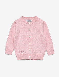 Hearts Cotton Cardigan - gebreide vesten - carmel pink heath