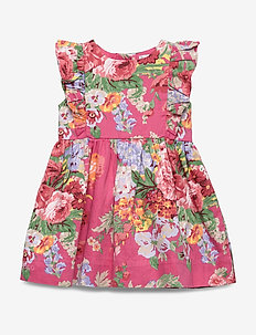 Ruffled Floral Dress & Bloomer - PINK MULTI