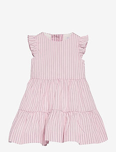 CORDED YD STRIPE-TIERED DRESS-DR-WV - robes - pink white