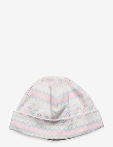 Fair Isle Print Cotton Hat - hats - cream multi