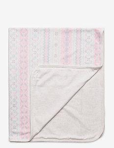 Fair Isle Cotton Blanket - koce i kołdry - cream multi