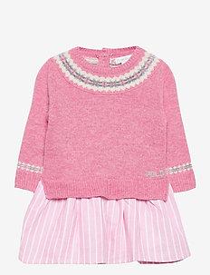 WOOL-FAIRISLE DRS-DR-SWT - robes - preppy pink heath
