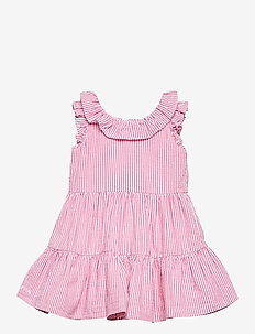 Tiered Seersucker Dress & Bloomer - dresses - pink/white